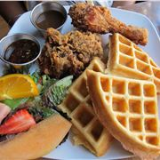 Chicken, Waffles , Syrup And Gravy At The Harlem Underground