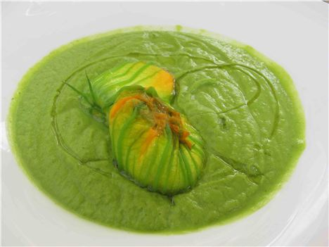 Stuffed Courgette Flower In A Zucchini Veloute At The Scrigno Del Duomo