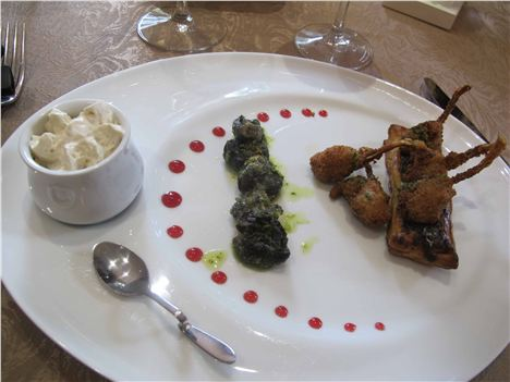 Snails And Frog's Legs Starter At Relais Del'abbaye, Charlieu