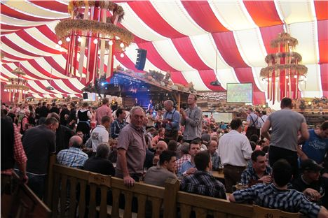 Inside the Stuttgart Beer Festival tent