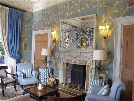 Hand Painted Wallpaper In This Elegant Public Room