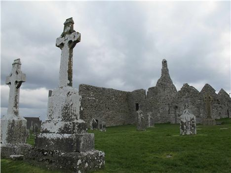 Clonmacnoise Cathedral With Cross Of The Scriptures
