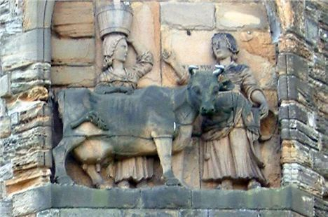 The Story Of The Dun Cow, As Depicted In An 18Th-Century Panel On The North Facade Of Durham Cathedral.