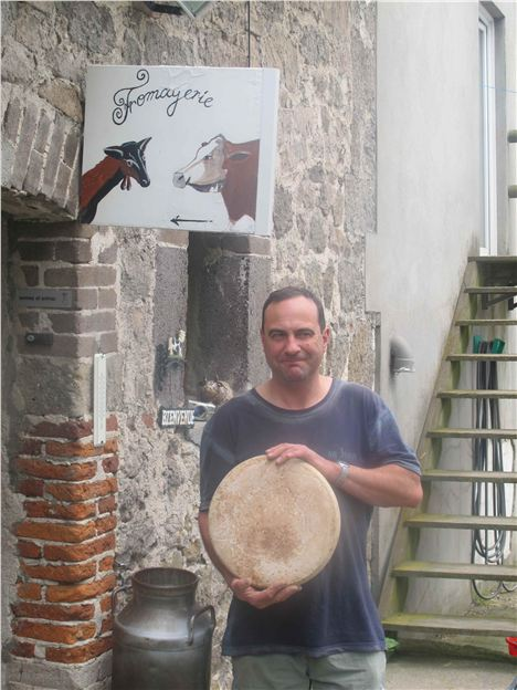 Daniel Mounier Shows Off One Of His Amazing Cheeses At His Blancs Des Chardons Farm