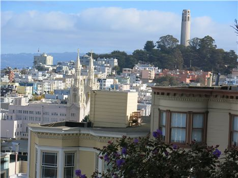 View Of The Italian Church And Coit Tower From Russian Hill