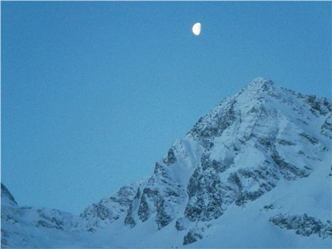 Morning Moon And Mountain