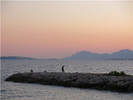 Sunset Fishermen At Juan Les Pins