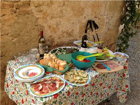 Lunch Spread At Farm And Wine Estate Of Bichi Borghesi, Scorgiano