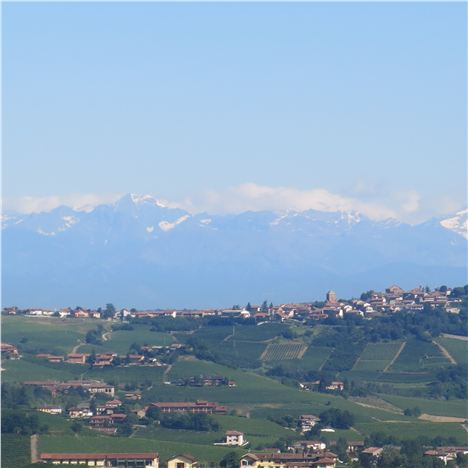 Our View Of The Distant Alps From Our Castiglione Falletto