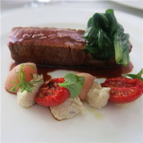 Sirloin Steak Ith Peaches, Almonds And Roasted Tomatoes At Villa Amelia