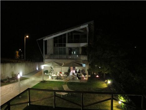 Night time at the modern rear of Casa Marcial, there's a traditional bit round the front