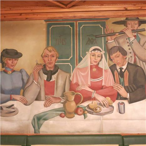 Scene From The Wedding Feast Mural - Dining Romm Hotel Edelweiss %26#38%3B Gurgl